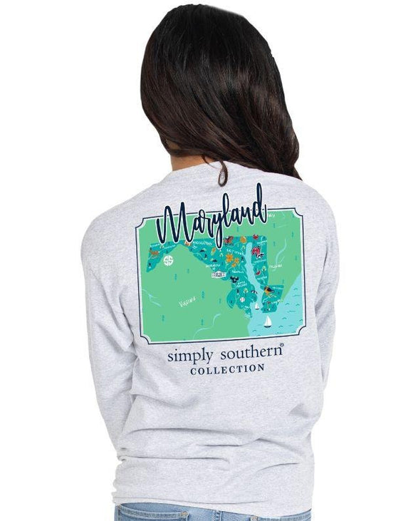 maryland state map simply southern grey shirt