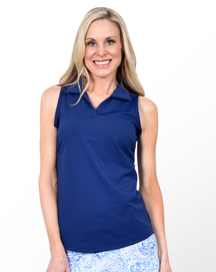 Navy Sleeveless Collared Shirt