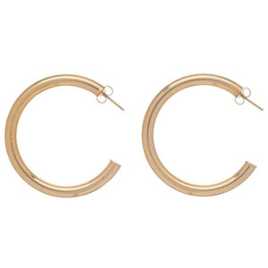 "Round Gold 1.5"" Post Hoop - 4mm - Smooth"