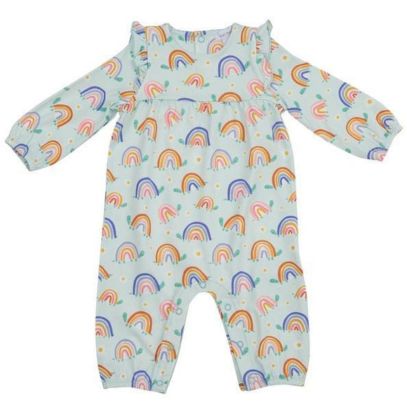 Rainbow Turtles Ruffle Sleeve Romper