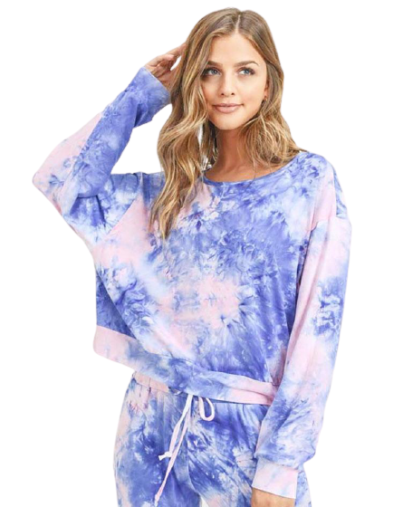 Pink & Blue Tie Dye Long Sleeve Top