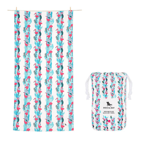 Quick Dry Beach Towel - Flamingo Fever