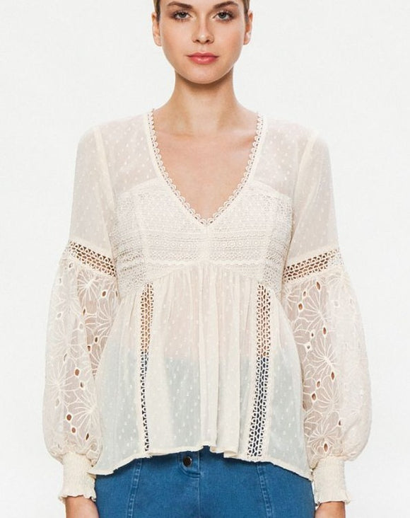 Semi-Sheer Woven Peasant Top