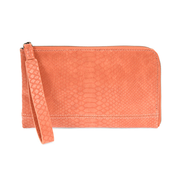 Tina Coral Embossed Vegan Leather Wristlet