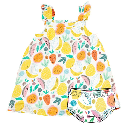 Sundress and Diaper Cover in Tropical Fruit