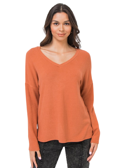 orange cozy fuzzy sweater