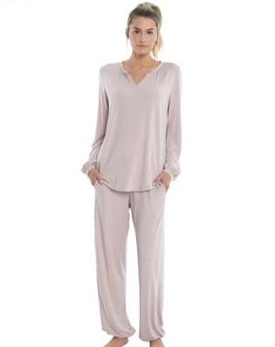 The Luxe Milk Jersey Namaste Lounge Set in Light Pink
