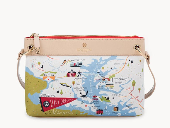 Bay Dreams Chesapeake Bay Map Crossbody Bag