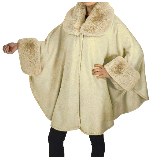 Faux Fur Trim Cape Poncho