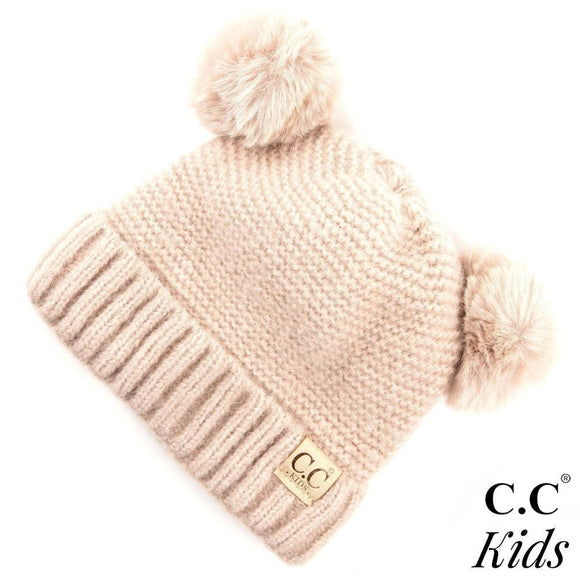 Kids Ribbed Knit Solid Double Pom Beanie