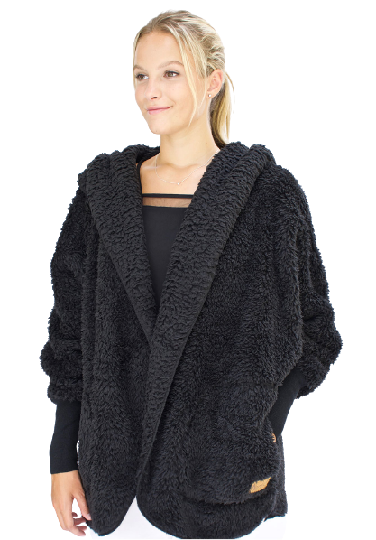 Nordic Beach Cozy Hooded Wrap in Black Licorice