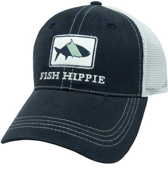 Fish Hippie Trucker Hat in Navy