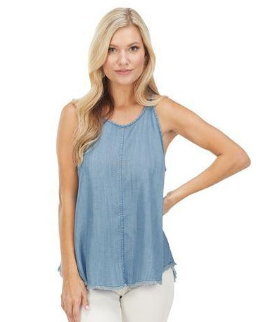 blue denim sleeveless tank top