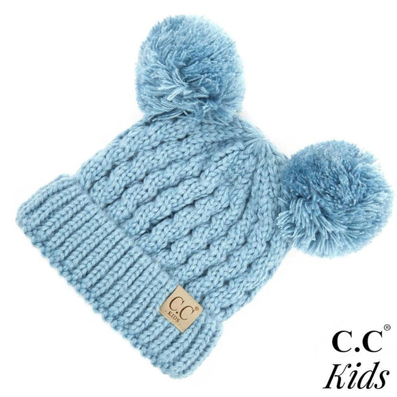 Kids Solid Cable Knit Double Pom Beanie