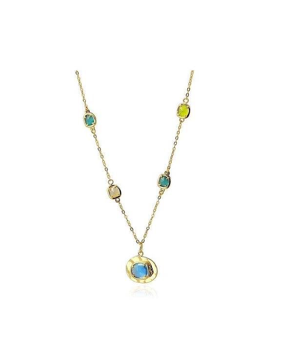 Gold  Blue And Green Cat Eye Crystal Art Deco Style Necklace