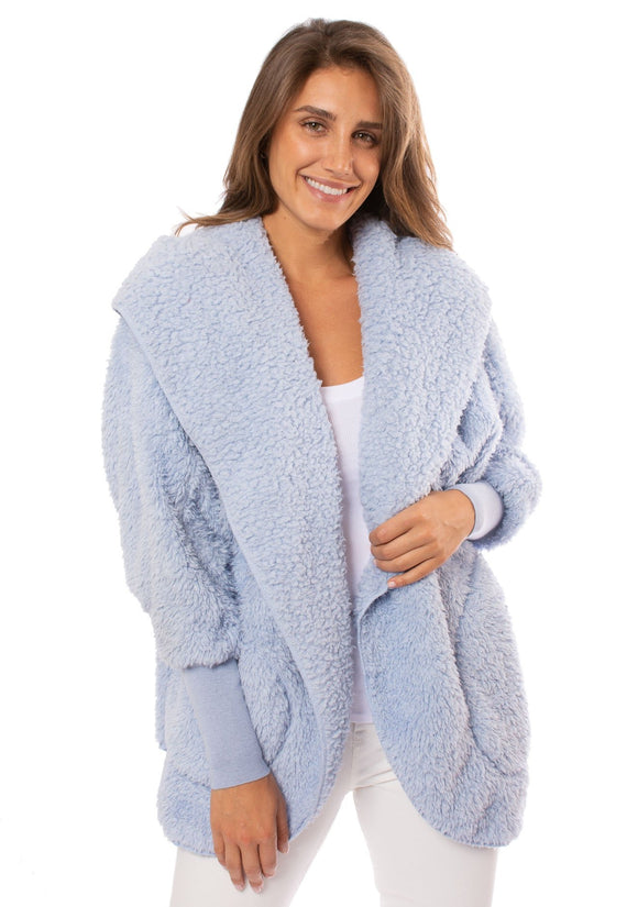 Nordic Beach Cozy Hooded Wrap in Cashmere Blue