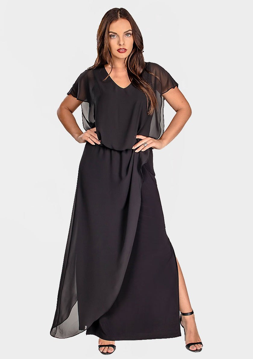 Black Maxi Dress with Chiffon Overlay
