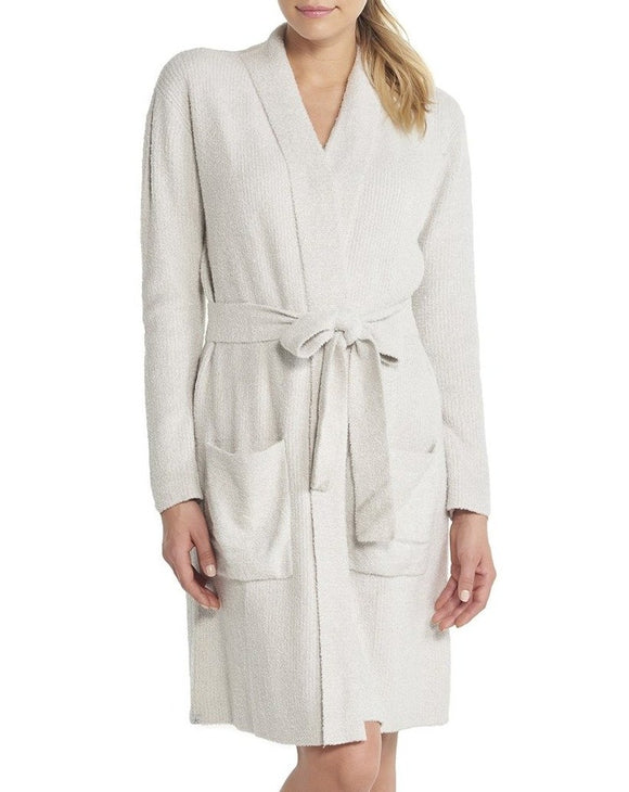 CozyChic Lite® Ribbed Robe in Heathered Silver / Pearl
