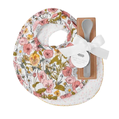 Floral Muslin Bib and Spoon Set