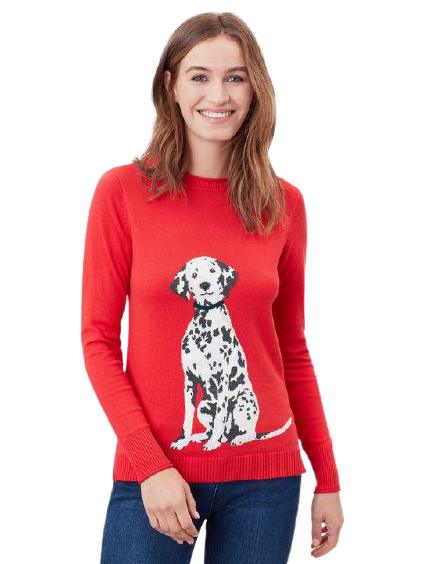 Miranda Knitted Intarsia Crew Neck Red Dalmatian Sweater