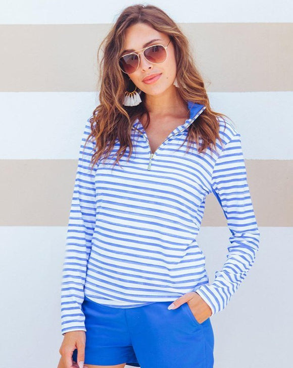 Blue Stripe Athletic Zip Front Top
