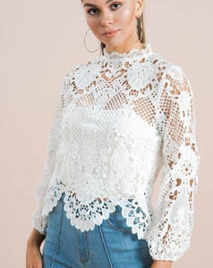 Crochet Lace Long Sleeve Top