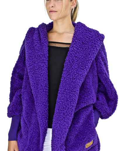 Nordic Beach Cozy Hooded Wrap in Exotic Violet