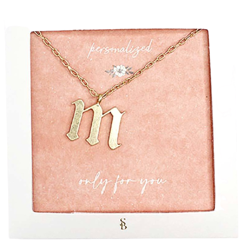 M Gothic Letter Necklace