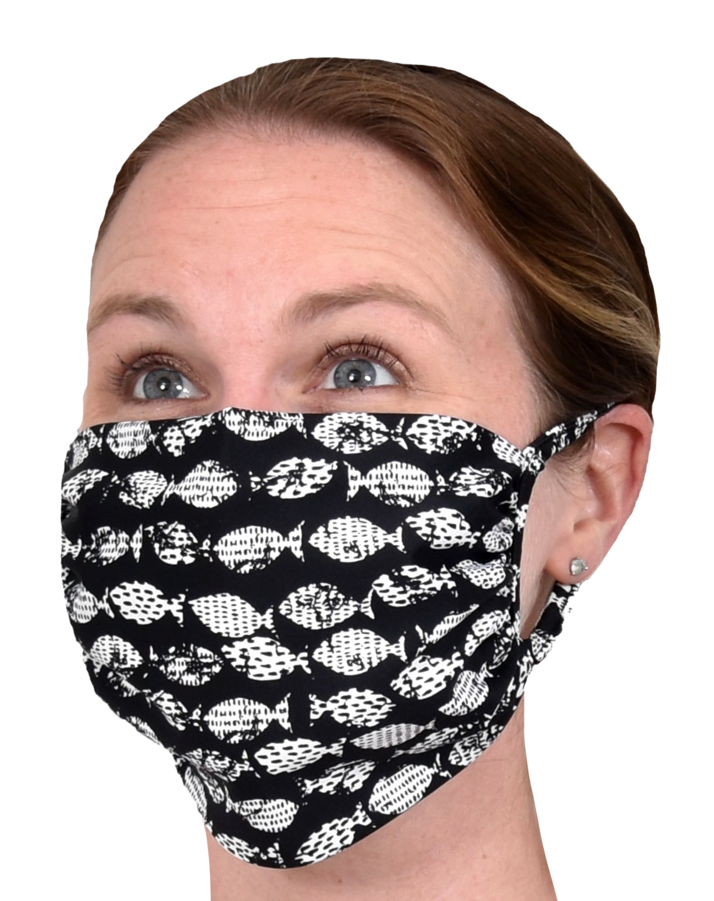 black with white fish print face mask southwind