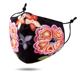 Embroidered Floral Face Mask