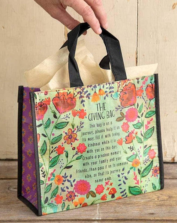 Medium Green Floral Giving Bag