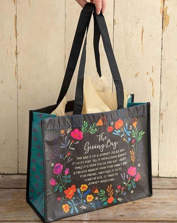 Large Black Floral Wreath Giving Bag