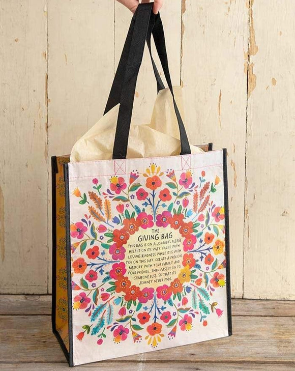 Extra Large Cream Floral Giving Bag