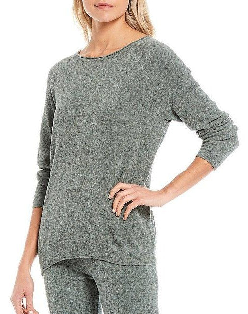 Cozychic® Ultra Lite Rolled Neck Pullover in Agave Green