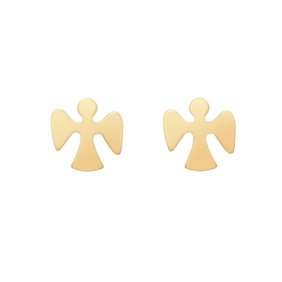 Guardian Angel Gold Stud Earrings