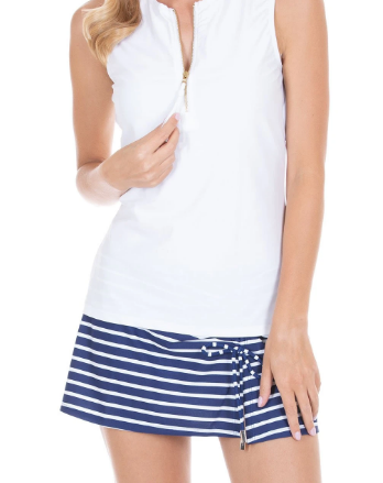 Side Tie Striped Swim Skirt