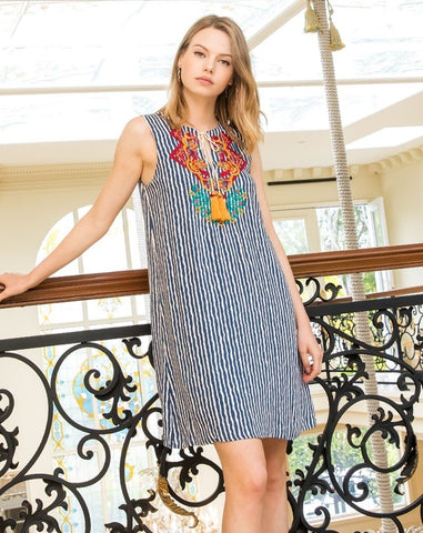 Sleeveless Stripe Embroidered Shift Dress - Last One in XS