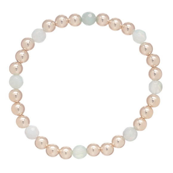 Gold Sincerity Pattern 6mm Bead Bracelet - Turquoise Agate