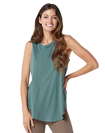 Pima Cotton A-Line Tank in Agave Green