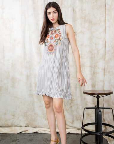 Stripe Embroidered Dress