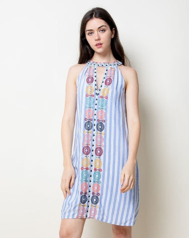 Blue & White Striped Embroidered Halter Dress