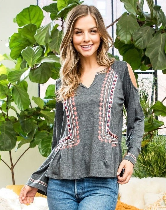 Grey Cold Shoulder Long Sleeve Top