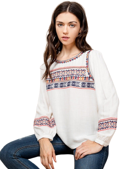 Natural Embroidered Long Sleeve Top