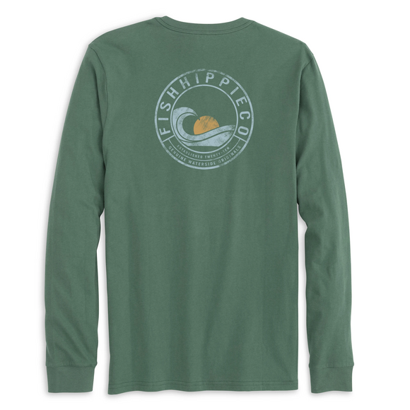 dusk breaker long sleeve tee fish hippie in pine green back of the shirt with a wave and a sun graphic