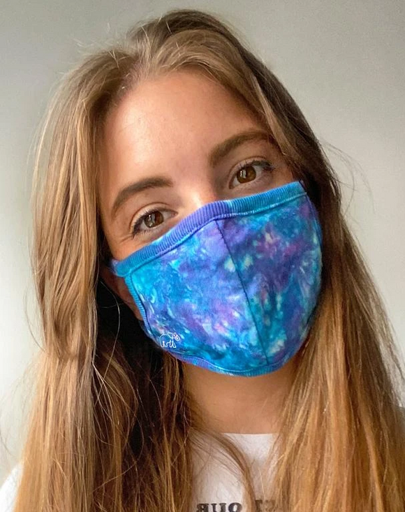 blue & purple tie dye face mask ivory ella