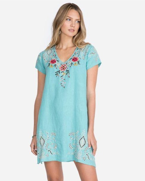 Assa Linen Drape Tunic Dress