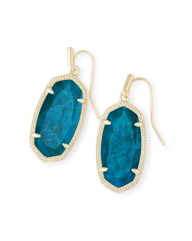 Dani Gold Drop Earrings In Aqua Apatite