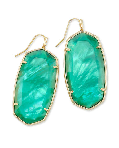 Faceted Danielle Gold Statement Earrings In Jade Green Illusion