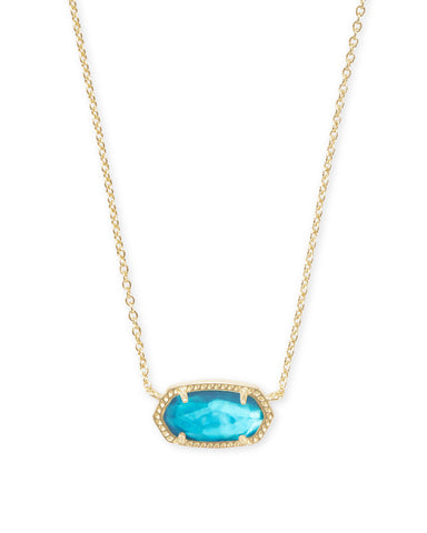 Elisa Gold Short Pendant Necklace In Aqua Illusion