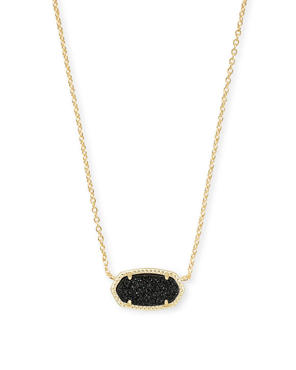 Elisa Gold Pendant Necklace In Black Drusy